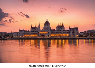 The building of the Parliament in Budapest at dawn, Hungary