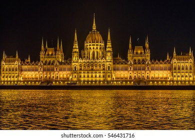 Building of Parliament in Budapest at night, Hungary