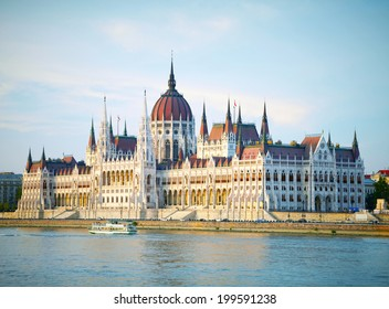 The building of the Parliament in sunset lights. Budapest, Hungary