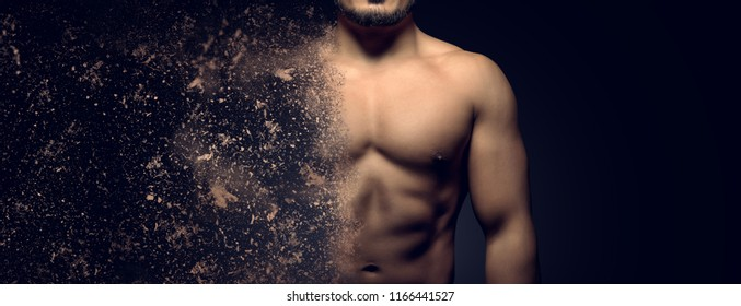 Building the perfect muscular male upper body concept. Dispersion effect.