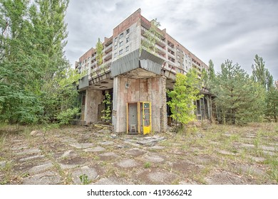 A building with a phone booth in Pripyat Ukraine.
