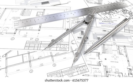 Building plans. Generic Architectural blueprints, drawings and sketches. Ruler, Pen and Divider of metal. 3D render.