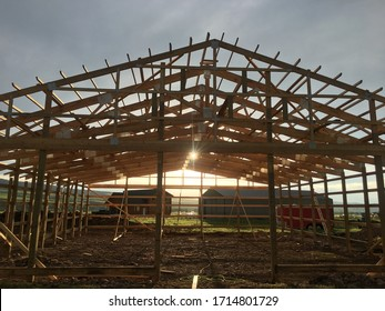 Building a Pole Barn House in Wyoming - Shutterstock ID 1714801729