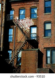 A building in portland Maine with Graffite.
