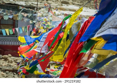 Building with prayer flags on Chang La Pass,Leh Ladakh,India.