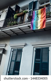 Building with Pride Flags hanging