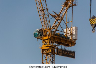 BUILDING PROJECTS, DUBAI, UAE-20th SEPTEMBER 2017:-There are many building projects throughout Dubai using cranes to carry loads.