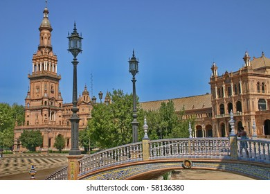 """The building realize in traditional style of spanish on """"Plaza of Spain"""" in Seville."""