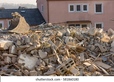 Building rubble after demolition works