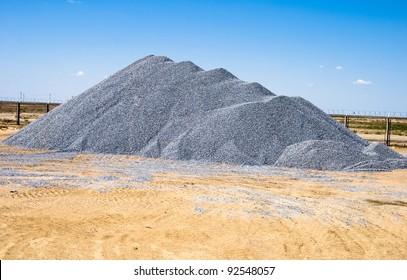 building rubble dump on industrial site