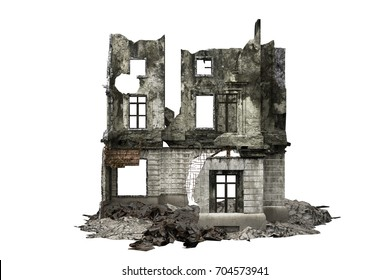 building ruins facade isolated on white. 3d rendering
