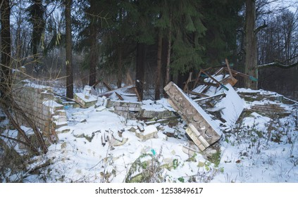 building ruins in the forest, disaster abstract