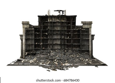 building ruins isolated on white. 3d rendering