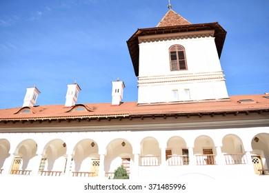 Building in Sambata de Sus monastery complex in Romania.