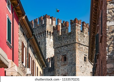 Building of Scaliger Castle (13th century) from outside in Sirmione on Garda lake in Italy.