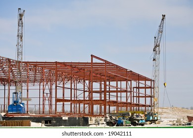 building series: industrial site under construction in winter