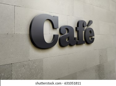 A building signage for 'Cafe'.