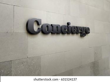 A building signage for 'Concierge'.