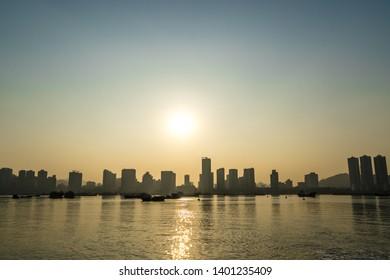 building silhouette in coastline of China