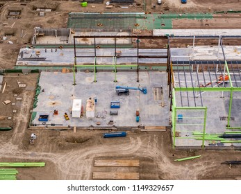 Building Site Aerial View, Construction of Building with Steel