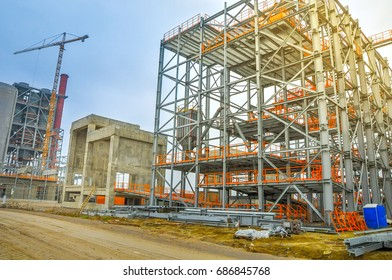 building site, construction of concrete designs, iron frame constructions