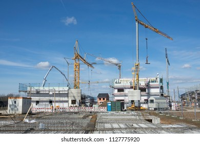 building site of a development area with cranes