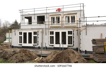 Building site with a house under construction - Netherlands