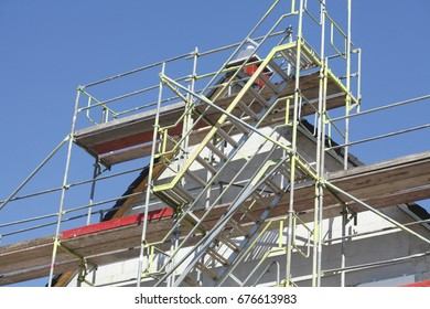 Building Site with roof on a new building