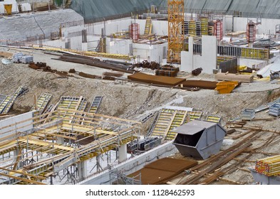 building site in time of construction boom
