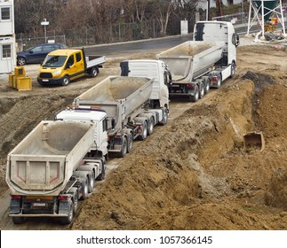building site - trucks are ready to leave