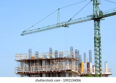 building site under construction architecture with crane