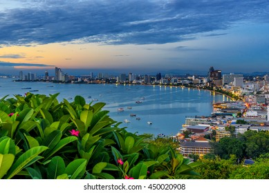 The building and skyscrapers in twilight time in Pattaya,Thailand. Pattaya city is famous about sea sport and night life entertainment.