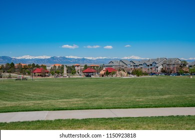 Building with snow mountain as background at Westminster, Colorado