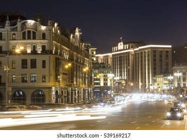 Building of The State Duma of the Federal Assembly of Russian Federation (at night). Moscow, Russia. The address of the building is Okhotny Ryad Street, 1/2