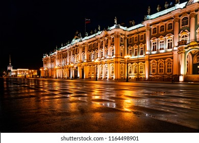 Building of the State Hermitage Museum at night. The Winter Palace.