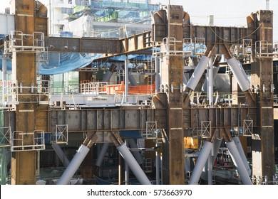 Building Steel Structure Framework Construction Earthquake Resistant Seismic Retrofit High-rise Building High-rise Building Construction Site Tokyo