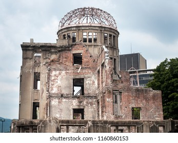The building still standing in the background is the Hiroshima Prefectural Industrial Promotion Hall, now preserved as the Atomic Bom Dome.Hiroshima.Japan. UNESCO World Heritage Site