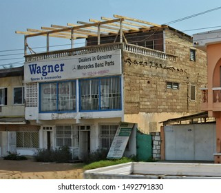 Building with a store and offices in Accra. Development of business in Africa. West Africa. Ghana, Accra – January 11, 2017