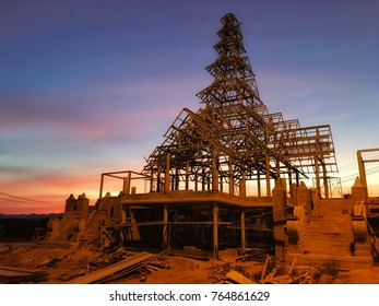 Building structure of Northern Thailand style in the evening.Unfinished construction.