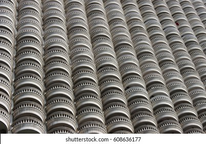 Building terrace. Wave pattern. abstract design. Architecture design. Building facades design.