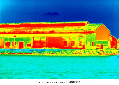 a building with a thermo imaging style applied to it
