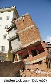 Building tilt and sever damage from 7.8 M Nepal earthquake