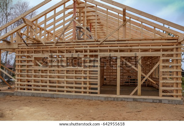Building Timber Frame House Wooden Consruction Stock Photo Edit Now 642955618