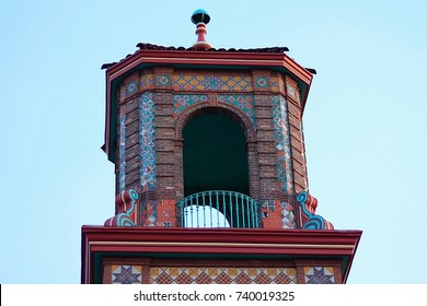 A building top in the Country Club Plaza district of Kansas City, Missouri.