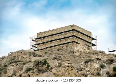 Building in the top of hill in Skyros island. Sporades island, Greece