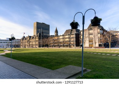 The building is of town hall in Middlesborough , North East England.