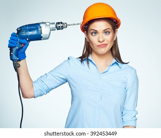 Building Trouble with Female builder worker. Isolated portrait of woman builder with drill.