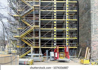 Building under construction  with scaffolds