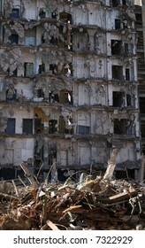 building under demolition background