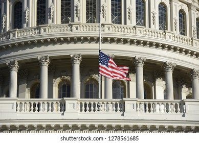 Building of The US Congress at Capitol Hill in Washington DC during late autumn and early winter